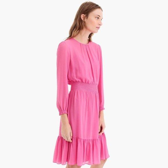 J.CREW Bubblegum Pink Ruffled Midi Dress